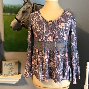 Cornflower blue floral top with flare sleeves